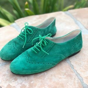London Sole Green Suede Oxfords